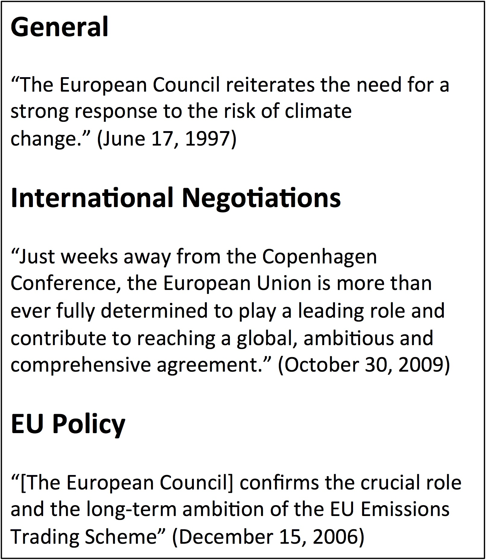 Examples Of European Council Climate Change Statements Categorized Under  General, International Negotiations