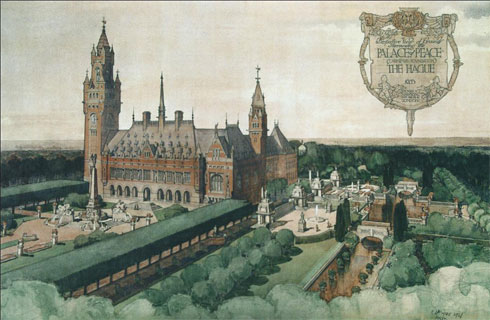 Figure 4: Robert Atkinson's presentation watercolour of Mawson's gardens for the Peace Palace at The Hague, 1908. The unexpectedly high cost of preparing the site meant that most of the architectural embellishments were abandoned, and stone was replaced by brick. From: Waymark, Thomas Mawson, 65.