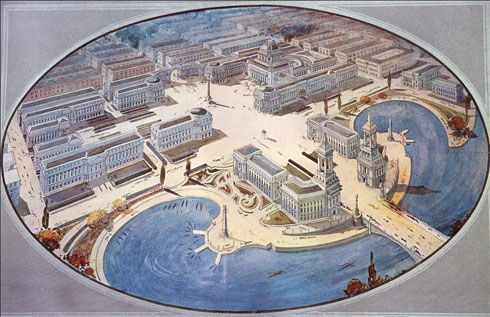 """Figure 5: Calgary as the imperial """"city beautiful."""" Frontispiece to 'Calgary', Mawson's report on his town plan for the city. From: Waymark, Thomas Mawson, 160."""