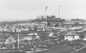 Figure 1. A view of the Huntly Power Station in 1979, seen from the suburban area of Huntly East. Source: T.W. Fookes, Expectations and Related Findings 1973-81, Monitoring Social and Economic Impact: Huntly Case Study, University of Waikato, Final Report Series No.4A, Hamilton, December 1981, p 4.