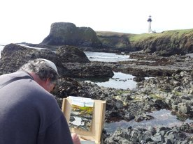 Artist gets inspired by the lighthouse and tide pools (Photo by Samantha Starns)