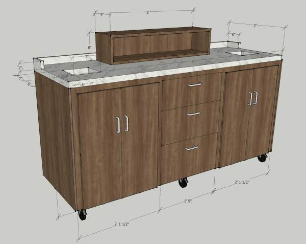 Six Foot Rolling Coffee Cart - Envisionary