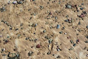 golden sand and coloured stones on the beach