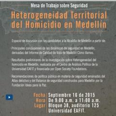 Mesa de trabajo sobre seguridad. Heterogeneidad territorial del homicidio en Medellín