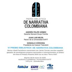 Emisión en directo del VI Premio Biblioteca de Narrativa Colombiana