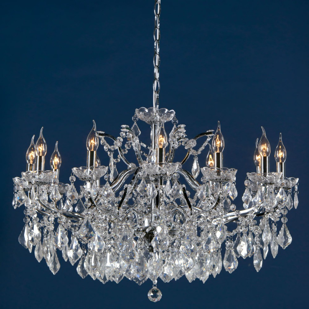 Vivianne Chrome Clear Crystal Glass 12 Light Large Chandelier Ceiling