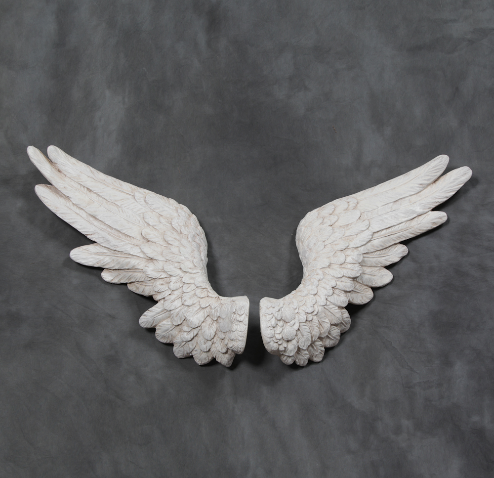 Pair Of Antique White Angel Wings Wall Decor