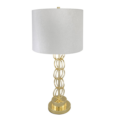 Gold Ring Table Lamp With 14 Inch White Crocodile Velvet Drum Shade