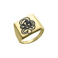 Gold Plated Engraved Monogram Square Ring| EnvyHer ...