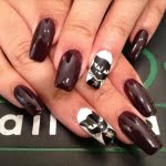 Brown White With Black Cat Nail Art Designs