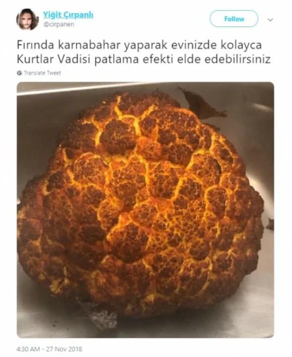 Fırında karnabahar yaparak evinizde kolayca kurtlar vadisi patlama efekti elde edebilirsiniz - Resimli Komik Twitter Paylaşımları - En Yeni Komik Tweetler, twitter-sozleri