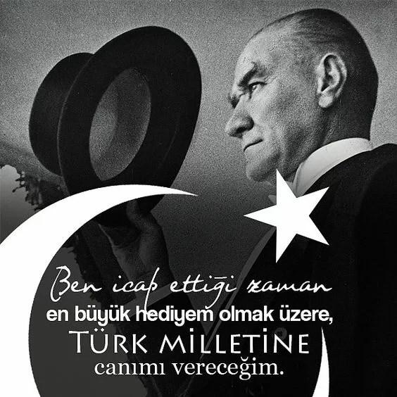 Ben icab ettiği zaman en büyük hediyem olmak üzere Türk milletine canımı vereceğim. Mustafa Kemal Atatürk - Mustafa Kemal Atatürk Resimli Sözler - Atatürk Sözleri Ve Fotoğraf Arşivi, unlu-sozleri, guzel-sozler