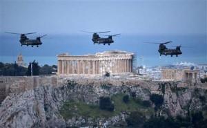 Ελικόπτερα Σινούκ στον αττικό ουρανό για τον εορτασμό της Εθνικής Επετείου της 25ης Μαρτίου