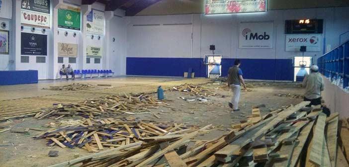 Έργα αποκατάστασης του παρκέ στο Κλειστό Ν. Πεντέλης
