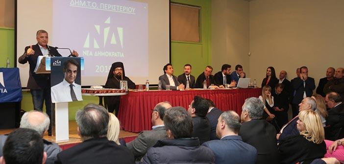 Ο υποψήφιος περιφερειάρχης Αττικής Γ. Πατούλης σε εκδήλωση της ΔΗΜΤΟ Ν.Δ. Περιστερίου