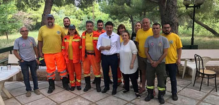 Στις εγκαταστάσεις της Εθελοντικής Ομάδας  Δασοπροστασίας Παπάγου-Χολαργού ο γ.γ. Πολιτικής Προστασίας