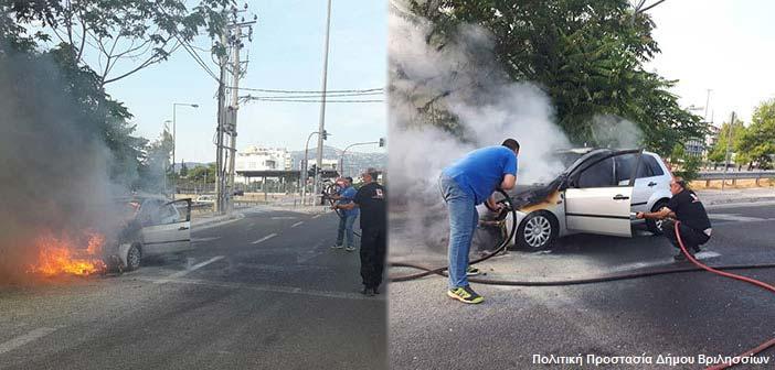 Φωτιά σε όχημα στα Βριλήσσια – Στο σημείο η Πολιτική Προστασία του Δήμου