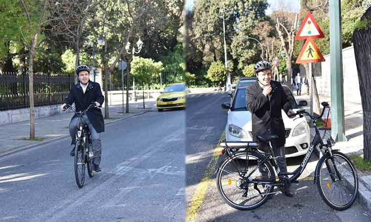 Με ηλεκτρικό ποδήλατο στο Μαξίμου ο πρόεδρος της ΚΕΔΕ, Δημήτρης Παπαστεργίου (video)