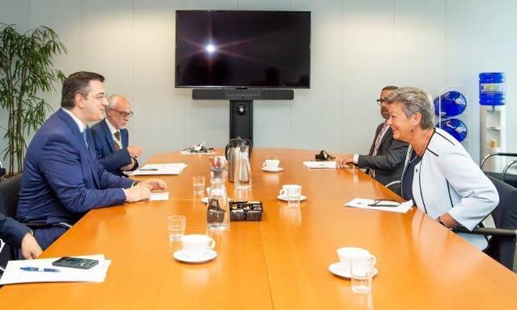 Συνάντηση Απ. Τζιτζικώστα και Y. Johansson για εξωτερικά σύνορα Ε.Ε. και «Σύμφωνο Δουβλίνου»