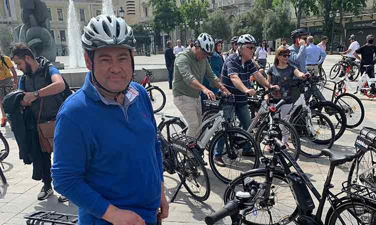 Ο Τ. Μαυρίδης στην ποδηλατάδα του Δήμου Αθηναίων