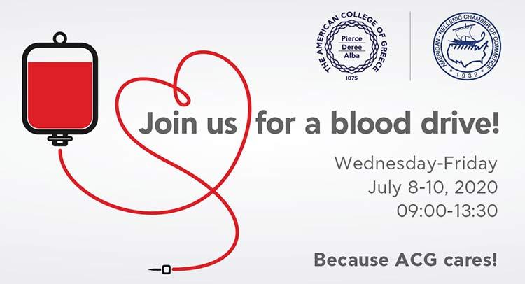 Αιμοδοσία στο Αμερικανικό Κολλέγιο Ελλάδος από 8 έως και 10 Ιουλίου