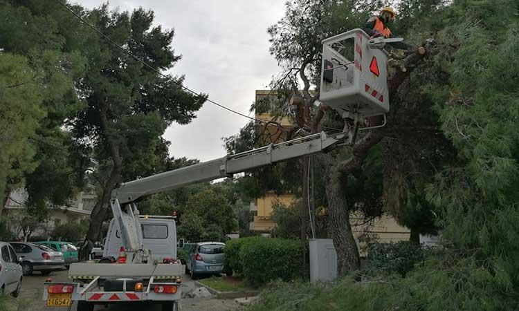 Συνεχίζονται το Σαββατοκύριακο οι εργασίες αποκατάστασης των προβλημάτων που δημιούργησε η «Μήδεια» στο Μαρούσι