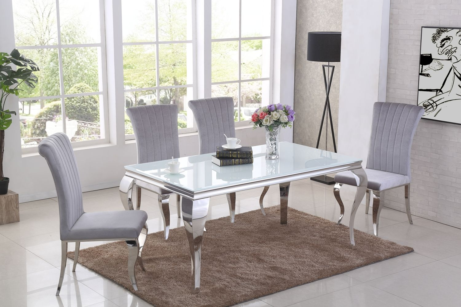 White Dining Room Chair Ga Liyana White Dining Table 4 6 Grey Chairs