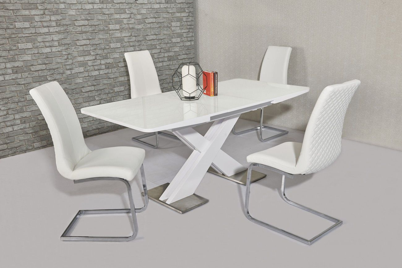 Table With Chairs Ga Nirvana Gloss 140 180 Cm Extending White Dining Table Chairs Grey Cream