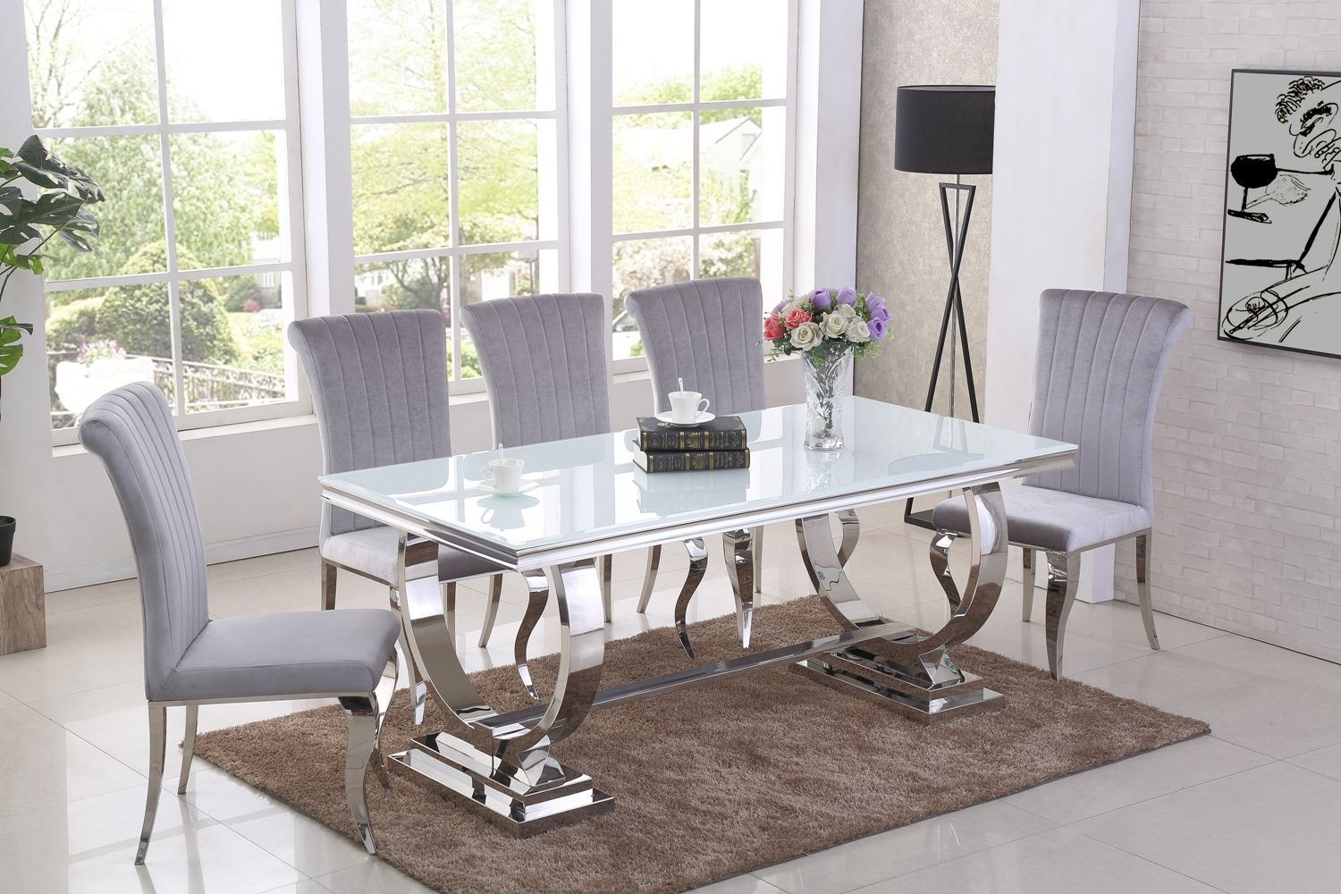 White Dining Room Chair Ga Romano White Dining Table 4 6 8 Grey Chairs