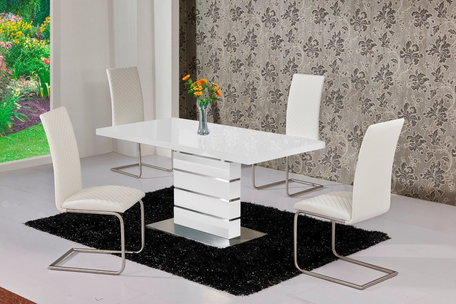 White Dining Room Chair Mace High Gloss Extending 120 160 Dining Table Chair Set White