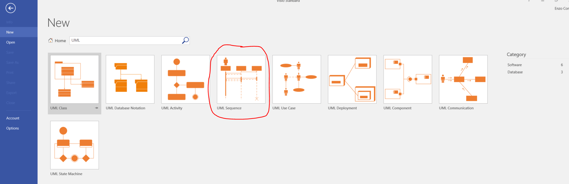 hight resolution of searching for uml diagram templates in visio 2016 standard