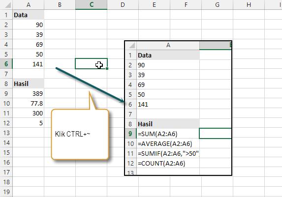 Menampilkan Excel formula bukan hasilnya