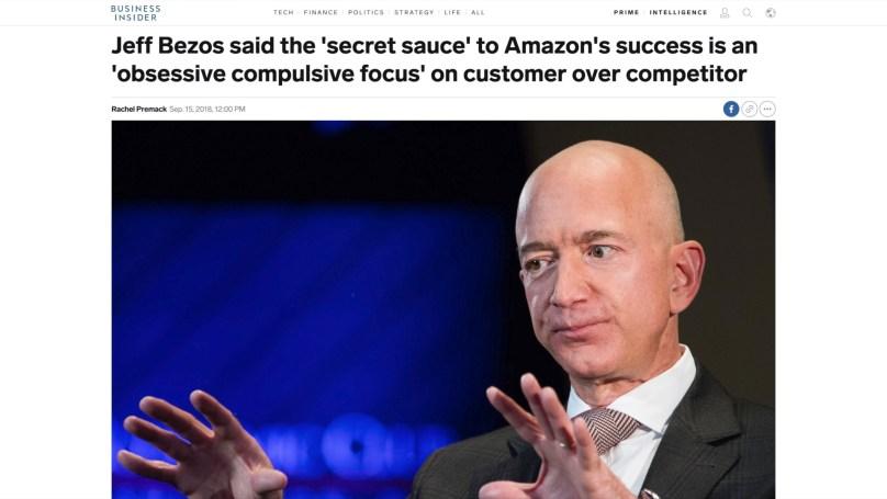 아마존의 CEO 제프 베조스에 관한 기사