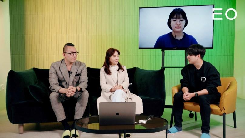 (왼쪽부터) 한성대학교 홍성재 창업 R&D센터 교수, 녹색도시연구소 김유민 연구소장, 세종 보람고등학교 유주연 학생, EO 김태용 대표