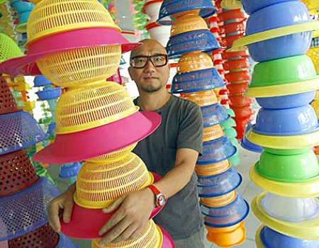 Choi Jeong Hwa with Happy Happy installation. Photo by Kirk McKoy for LATimes