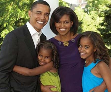 President Obama and family; Michelle, Malia and Sasha.