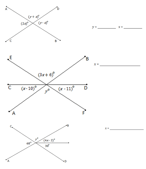 Lesson 1.2.1: Solve for Unknown Angles (Angles and Lines