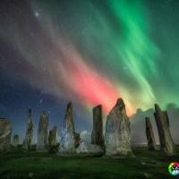 Admiring the Aurora Borealis from the Outer Hebrides