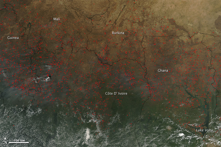 Agricultural fires across West Africa, December 2009.
