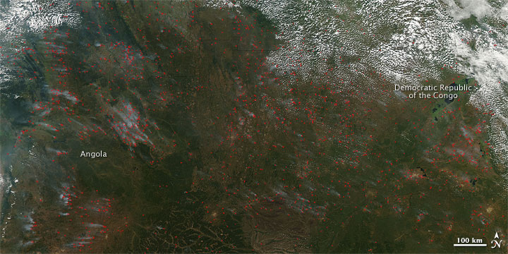 Bush burning, Angola and DRC, June 2010.