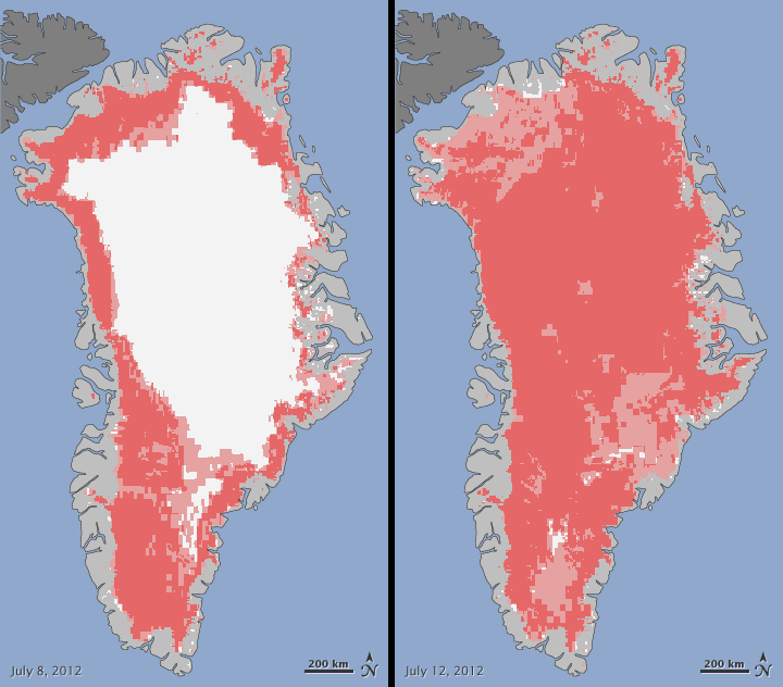 Satellites Observe Widespread Melting Event on Greenland