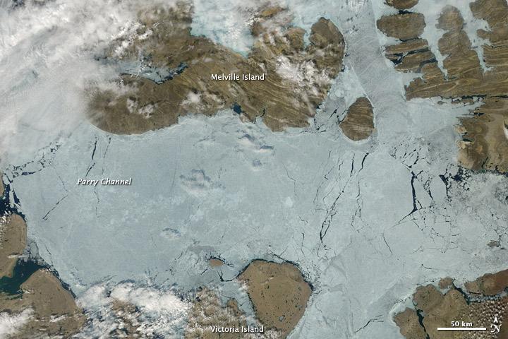 Sea Ice Retreats in the Northwest Passage