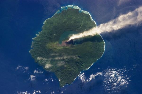 Gaua Island Space Shows Volcanic Plume