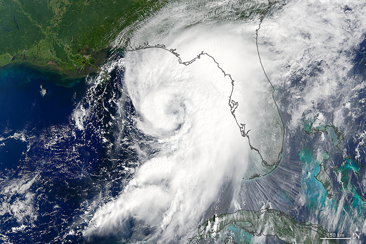 Hurricane Hermine spiral over Florida