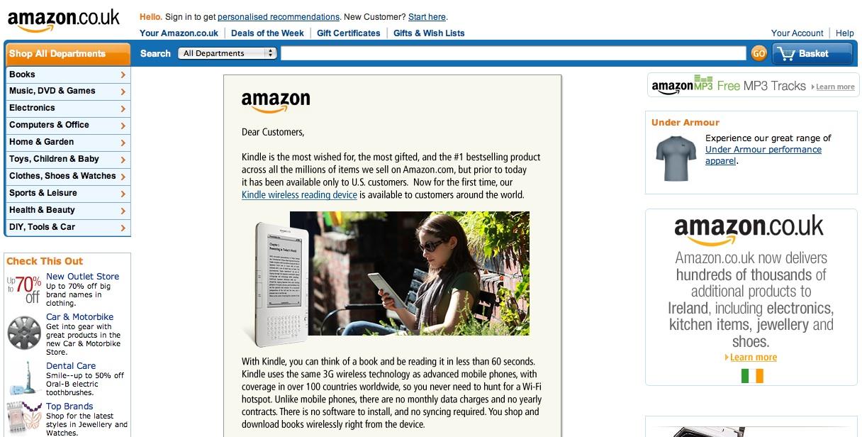 Amazon announce the international kindle