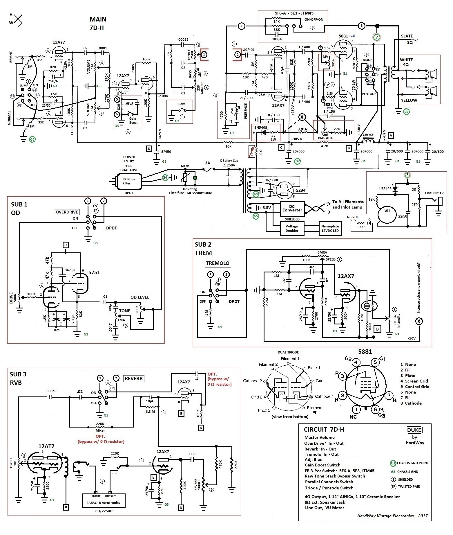 7d H Duke Schematic With Sub Circuits Donald W Hayward