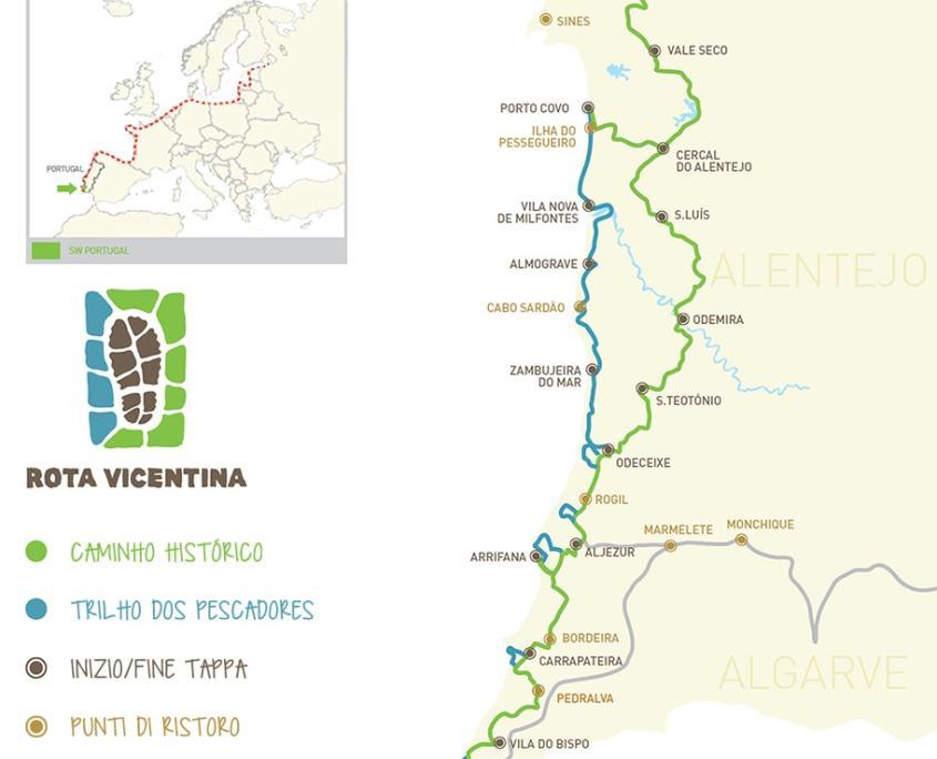 mappa del Cammino dei Pescatori e della Rota Vicentina