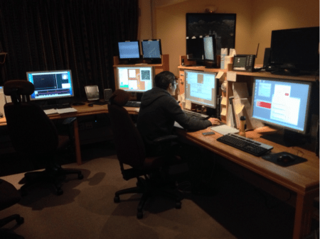 Min Fang in the VATT control room, getting at it.