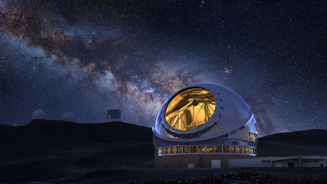 Rendering of the protested Thirty Meter Telescope on the summit of Mauna Kea. (Image credit: NAOJ)