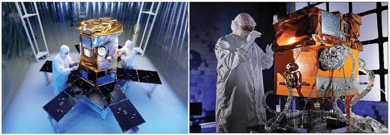 Fig. 1. (left) The Solar Radiation and Climate Experiment (SORCE) spacecraft at the Orbital Sciences Corporation in Dulles, Va., and (right) the Space Test Program Satellite-3 (STPSat-3) at Ball Aerospace & Technologies Corporation in Boulder, Colo. Both are now in orbit, obtaining daily measurements of the solar irradiance. A satellite as small as SORCE or STPSat-3, or even smaller, could be a cost-effective solution for flying the second iteration of the Total and Spectral Solar Irradiance Sensor (TSIS-2) to continue the Sun-climate record. Credit: OSC, BATC